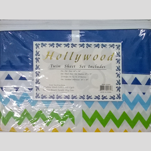 Hollywood Microfiber Zig Zag multi-color twin bed sheets set - Solid Blue banded Border