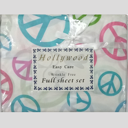 Microfiber Wrinkle Free Multi-Color Peace Signs Design Twin Size Sheet Set by Hollywood