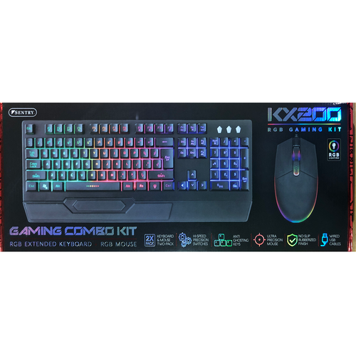Sentry KX200 Gaming Combo Kit, RGB Extended Keyboard