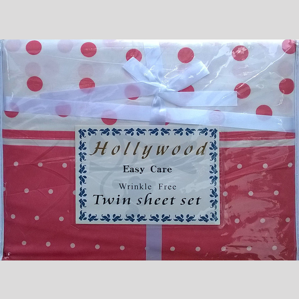 Microfiber Wrinkle Free Multi-Color Coral White Polka Dot Design Twin Size Sheet Set by Hollywood