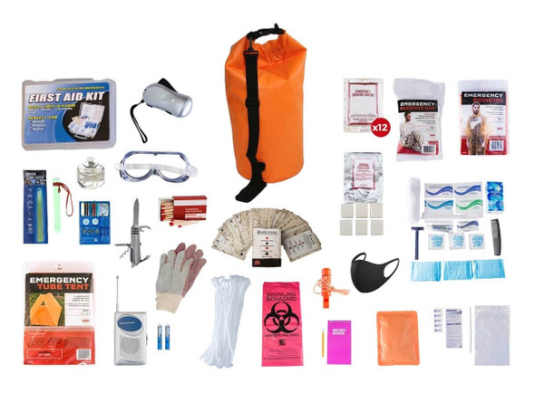This 1 Person Elite Survival Kit is made to last any emergency or camping adventure for more than 72 hours. All items are packed securely in our Waterproof Dry Bag. Individual components are placed in waterproof bags and neatly organized in the backpack for easy access. Hand-assembled in the USA.
