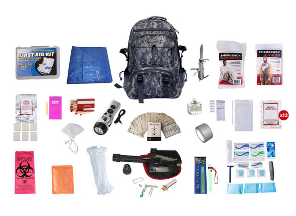 This Hunter's Deluxe Survival Kit is made to last 72 hours, this kit has the essential needs for every hunter. All items are packed securely in our Deluxe Camouflage Backpack, which has extra space for personal items, a bright orange pullout flag, and gun straps to free your hands as you travel. Each item is in a waterproof bag and neatly organized in the backpack for easy access. Hand-assembled in the USA.