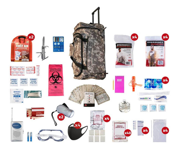 This 4 Person Deluxe Survival Kit is meant to last more than 72 Hours, perfect if you're planning a camping trip with the family or just have in case of emergencies. All items are packed securely in our Large Camo Wheel Bag. This large duffle bag features multiple pockets and wheels for easy mobility. Individual components are placed in waterproof bags and neatly organized in the wheel bag for easy access. Hand-assembled in the USA.