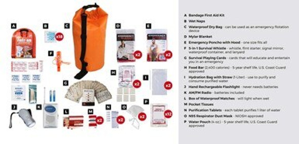 This 2Person 72-Hour EmergencyPreparednessKit has all items packed securely inour Waterproof Dry Bag. Individual components are placed in waterproof bags and neatly organized in the dry bag for easy access. Hand-assembled in the USA.