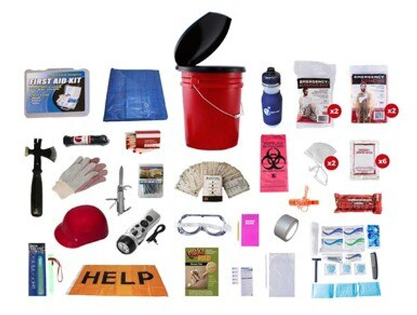 This Earthquake Emergency Preparedness kit is packed securely in our 5-Gallon Bucket with Toilet Seat Lid. Individual components are placed in waterproof bags and neatly organized in the bucket for easy access.