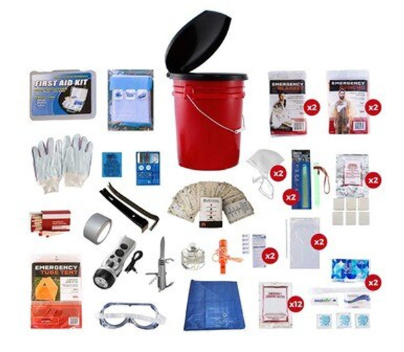 This 2 Person 72-Hour Emergency Preparedness Kit has all items packed securely in our 5-Gallon Bucket with Toilet Seat Lid. Individual components are placed in waterproof bags and neatly organized in the bucket for easy access. Hand-assembled in the USA.