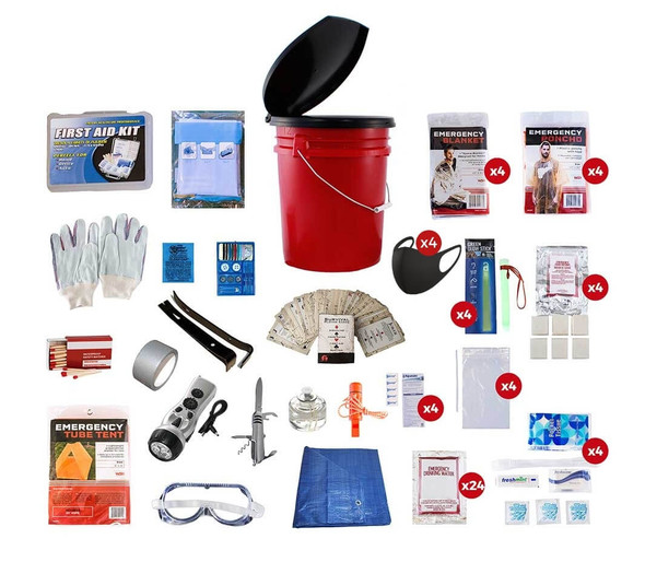 Our 4 Person Elite Bucket Survival Kit was put together for all your emergency survival needs.  All items are packed securely in our 5-Gallon Bucket with Toilet Seat Lid. Individual components are placed in waterproof bags and neatly organized in the bucket for easy access. Hand-assembled in the USA.