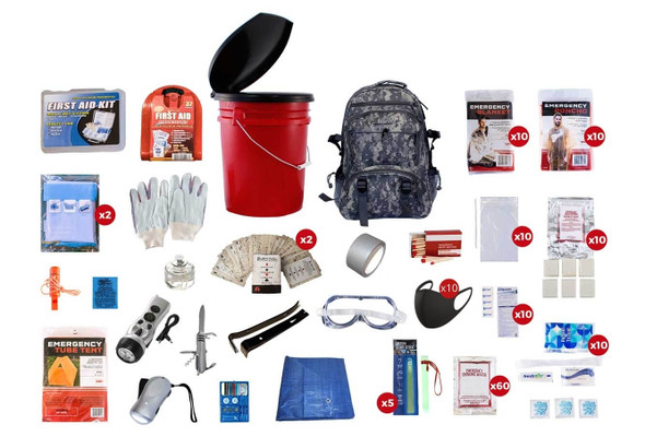 This 10 Person 72-Hour Deluxe Emergency Preparedness Kit has all items packed securely in our 5-Gallon Bucket with Toilet Seat Lid.  Individual components are placed in waterproof bags and neatly organized in the backpack for easy access. Hand-assembled in the USA.
