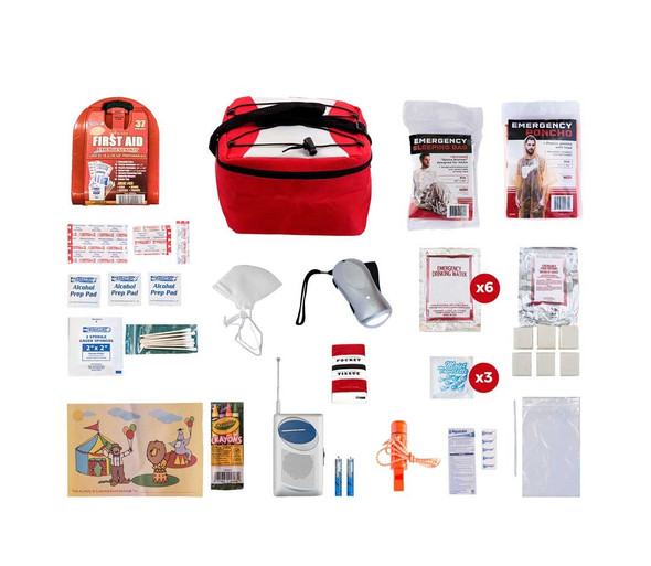 Survival Pal for Children has you need to carry in case for emergency or simply when camping,  all items are packed securely in our Cooler Bag. Individual components are placed in waterproof bags and neatly organized in the cooler bag for easy access. Hand-assembled in the USA.