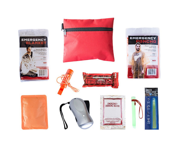 This Survival Mini for Children Kit is compact and packed neatly into a durable travel size bag. It is perfect to keep in a desk, backpack, or glovebox. Hand-assembled in the USA.