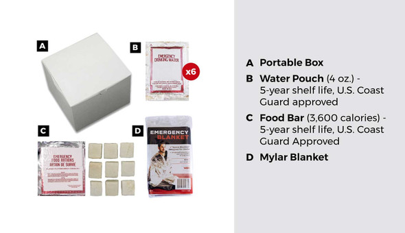 This 3 Day Box Survival Kit contains the essential items you will need to help for 3 days in a disaster. It is packaged in a durable box to ensure that the items remain protected until they are needed.