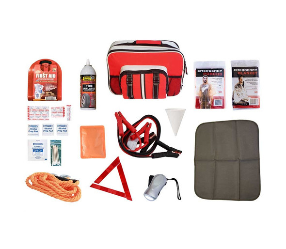 Never be stranded without these essential items in the trunk of your car. All of the items in this Auto Kit are packaged safely in our durable auto bag, which includes a portable floor mat. Hand-assembled in the USA.