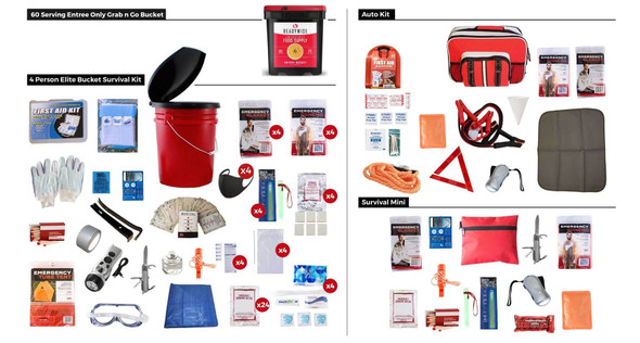 This Package is designed to fill all of the preparedness needs of 4 individuals by providing emergency supplies for the home, car, and one other location. This package also includes a 56 Serving Grab 'n Go Bucket of Wise Food Storage.