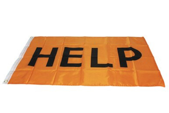 This 36x24 flag is bright orange to attract attention from great distance. The word HELP is printed on this flag for an easy to read distress signal. This flag also has grommets in the corners to allow it to be secured anywhere.