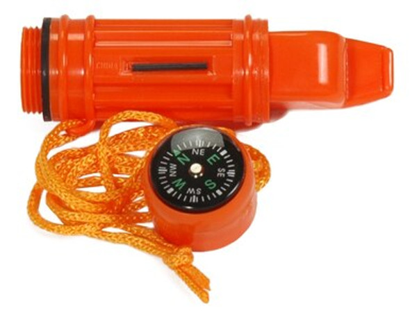 This handy survival tool has a compass, signal mirror, flint starter, waterproof container, and lanyard. The whistle sound travels over 1 mile.