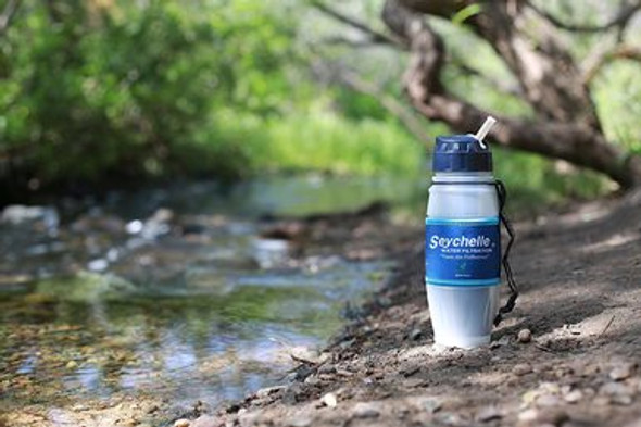 This Seychelle Extreme Water Filter Bottle is perfect for camping and nay international travel. Filters Down to .02 Microns and is EPA Complaint and FDA approved. Ready for any emergency with no worries.