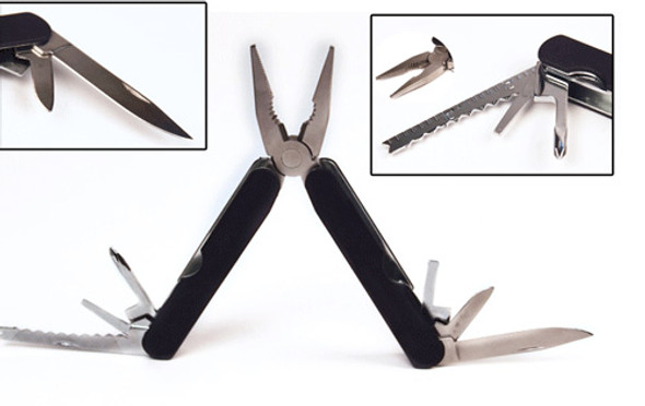 14 function is 1, this Multi Function Tool including long-nose pliers, wire stripper, cutter, can opener, phillips head screwdriver, fish scaler, hook dislodger, ruler, file, knife, small knife, and bottle opener. Perfect for Camping, Backpacking, Hiking or any Emergencies. Compact and Portable.