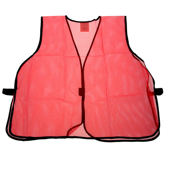 Be Seen with our Neon Orange Mesh Safety Vest. It's distinct color allows you stand out and be seen in any environment.• Hook & Loop Closures • Breathable Material • One Size Fits All • Neon Orange • 100 % Polyester, Machine Wash Warm, 104F (Max)