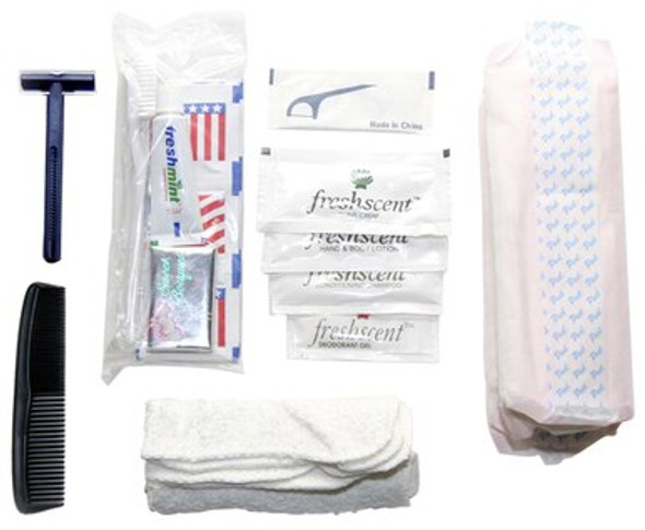 This Deluxe Hygiene Kit includes the following: toothbrush, toothpaste, Wet Wipes, bar of soap, 0.34 oz. shampoo and conditioner, Toothpick, 0.25 oz. hand and body lotion, deodorant gel, twin blade razor, comb, 3 Maxi Pads, shaving cream packet, and washcloth.