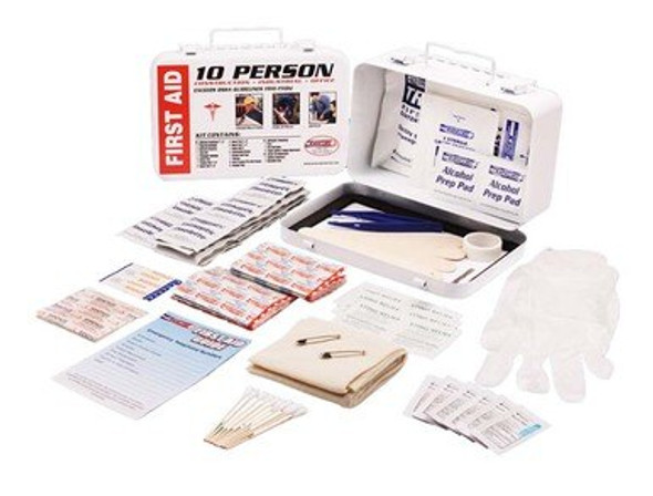 This comprehensive first aid kit was designed to meet the needs of 10 people. It is packaged in a white metal case. It is perfect for indoor or outdoor storage. The durable case will protect its contents under demanding conditions.