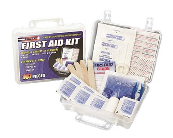 This mid-sized 107 Piece First Aid Kit is packed in a clear plastic case that is perfect for storing in your car, office or home.