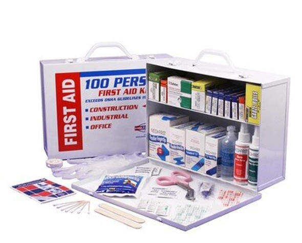 This 2-Shelf First Aid Cabinet was designed by leaders in the emergency preparedness industry. This kit contains 656 pieces that are packaged neatly into a white steel case that can be mounted on a wall for easy access.