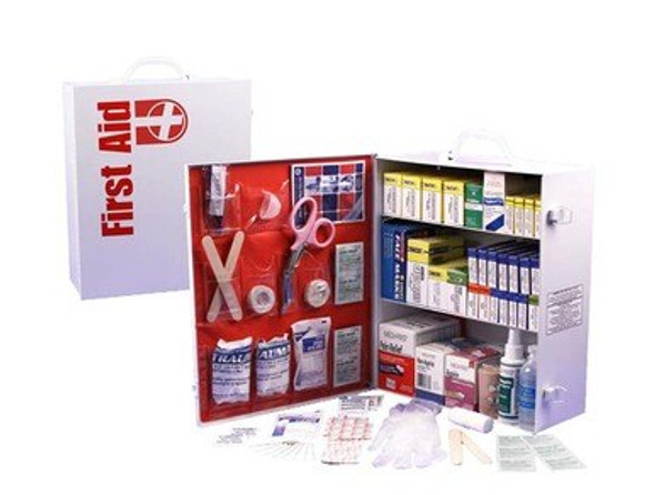 This 3-Shelf First Aid Cabinet was designed by leaders in the emergency preparedness industry. This kit contains 1044 pieces that are packaged neatly into a white steel case that can be mounted on a wall for easy access.