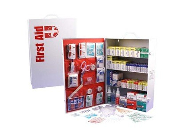This 4-Shelf First Aid Cabinet was designed by leaders in the emergency preparedness industry. This kit contains 1321 pieces that are packaged neatly into a white steel case that can be mounted on a wall for easy access.