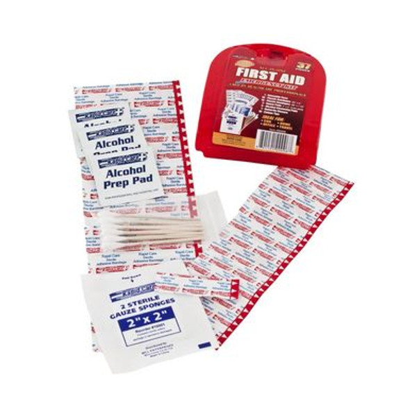 This comprehensive 37 Piece First Aid kit is packaged in a red plastic case that is portable and lightweight!
