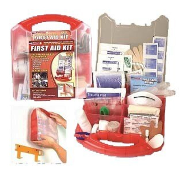 This comprehensive 183 Piece First Aid kit is packaged in a red plastic case that comes with a detachable wall mount, which allows you to put it in a convenient location for easy access in a time of need.