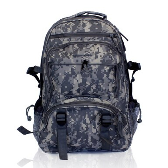Guardian Survival's Camo Bag is high-quality digital is perfect for hunters at any skill level. Its camo pattern will help you blend in with your surroundings. It has many pockets that are perfect for storing hunting/personal supplies. There are straps on both sides of the bag, perfect for strapping your firearm to your bag while you walk.