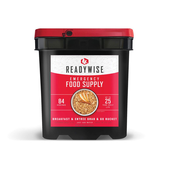 Our 84 serving breakfast & entree grab & go bucket is a staple for any emergency. Whether you're affected by a snow storm, hurricane or other weather emergency, it's wise to be prepared. These great-tasting freeze-dried and dehydrated foods are ready in minutes when you just add water. They also come in stackable buckets with an easy Grab-N-Go handle, so they're easy to store and transport.