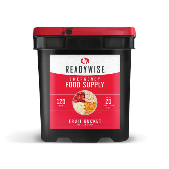 Our 120 Serving Freeze Dried Fruit Bucket is a perfect addition to any food supply. Whether you're affected by a snow storm, hurricane or other weather emergency, it's wise to be prepared. These great-tasting freeze-dried and dehydrated foods are ready in minutes when you just add water. They also come in stackable buckets with an easy Grab-N-Go handle, so they're easy to store and transport.