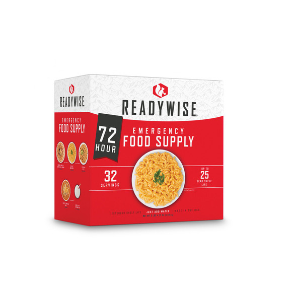 72 Hour Emergency Food and Drink Supply - 32 Servings. This box includes 12 servings of entrees, 8 servings of breakfasts, and 14 servings of milk.