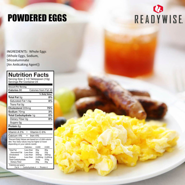144 serving bucket of powdered eggs for emergency, outdoor, or everyday use. No refrigeration required. Easy to prepare. Convenient to store. 25-year shelf-life.