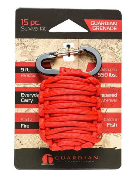 The Guardian Grenade is made of 9 Feet of 550lb-rated paracord, is great for everyday use! This Grenade includes a Fire-starter with tinder,  Knife blade, Fishing line, 2 Weights, 2 Floats, 2 Fishing hooks and many more features!