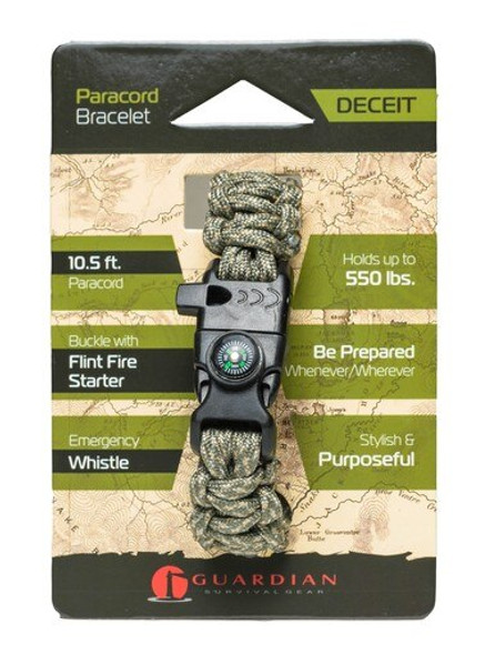Be prepared wherever you go with the Guardian Deceit Paracord Bracelet. The Guardian Paracord Bracelet is made of 10.5 Feet of 550lb-rated paracord and includes a Buckle with a Flint Fire Starter and Compass.