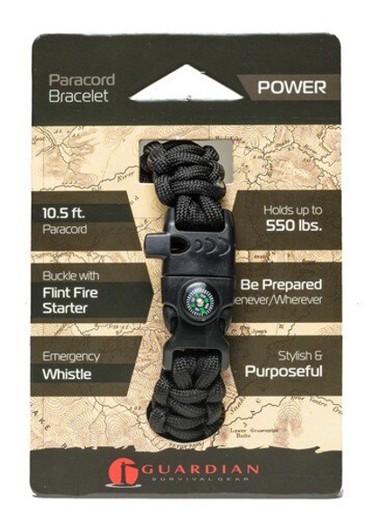 Be prepared wherever you go with the Guardian Power Paracord Bracelet. The Guardian Paracord Bracelet is made of 10.5 Feet of 550lb-rated paracord and includes a Buckle with a Flint Fire Starter and Compass.