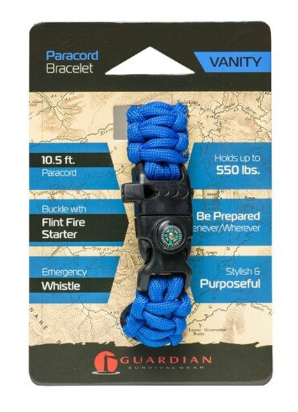 Be prepared wherever you go with the Guardian Vanity Paracord Bracelet. The Guardian Paracord Bracelet is made of 10.5 Feet of 550lb-rated paracord and includes a Buckle with a Flint Fire Starter and Compass.