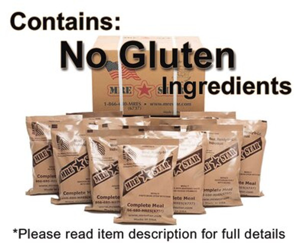 Whether you're prepping for your backpacking trip or any emergency you have to have food that is packed and READY. This case comes with 12 single Complete MRE meals that we have chosen from all of the varieties of entrees and components we produce and compiled those which do not contain gluten.  These specific case of meals comes with heaters.