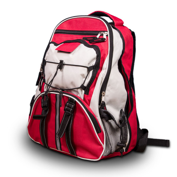 The Red 64 Piece Survival Backpack provides you with everything from first aid necessities to waterproof matches. It even includes 32 servings of entree options to keep you replenished and energized for the days ahead and a portable stove to simplify reconstitution.