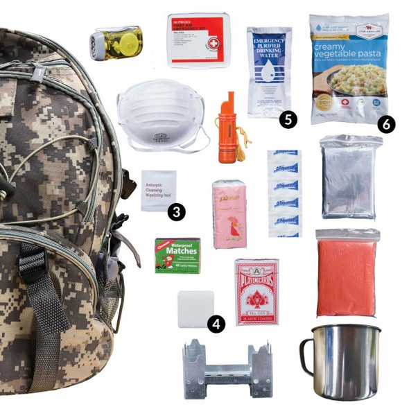 The Camo 64 Piece Survival Backpack provides you with everything from first aid necessities to waterproof matches. It even includes 32 servings of entree options to keep you replenished and energized for the days ahead and a portable stove to simplify reconstitution.