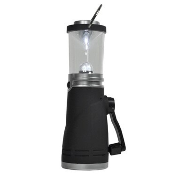 During a storm, a hurricane, tornado or even camping you can rely on HUMVEE Crank Lantern to bring light when you need it the most. Create environmentally friendly light with this compact Dynamo Camping Lantern. Winding the crank for only 1 minute will produce 20 minutes of light. A full charge on the battery will give you 90 minutes of light.