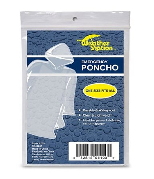 Compact and convenient, these clear Weather Station Emergency Ponchos are there to keep you covered when you need it most. One size fits all makes them great to share with family, and friend too. Wrapped tight for purchase, these ponchos are easily tucked away into backpacks, purses, or messenger bags.