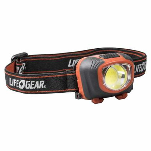 Life Gear Stormproof 260 Lumen Headlamp has High, Low, White Modes Red Night Vision and Red SOS Modes Extended Low Run Time for Battery Savings Hold Down Button 3s to toggle between Red + White Modes 3 AAA Alkaline Batteries Included Reflective Head Strap.