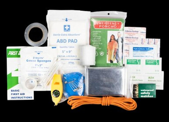 The Quick Grab First Aid Survival Kit features 88 items, including first aid and survival tools, so you will be prepared in case of an emergency. Don't get caught unprepared. Be ready for emergencies with the Quick Grab First Aid Survival Kit.