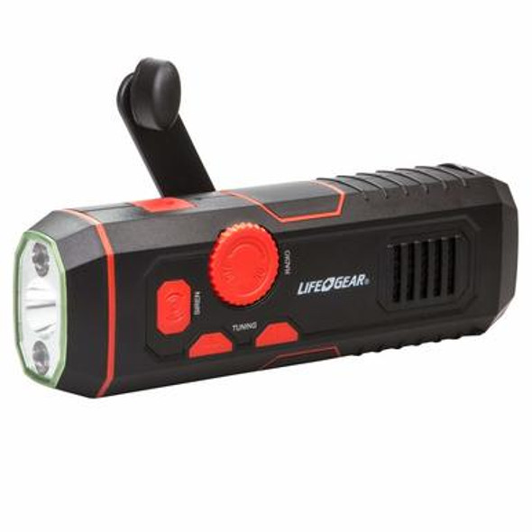 Perfect for emergencies at home, in the office or camping this Stormproof Crank Radio Light is a must have! Providing light, radio. and siren allowing you not only to have light, but keep informed of the latest news and weather reports. Featuring a built-in USB cable that allows for a 2 hour quick charge, or even during an emergency where there is no power one minute of crank will provide 10 minutes of light or radio! This radio flashlight is also water resistant.