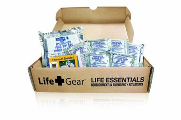 This Life Gear Life Essential includes 72 hours of food rations and water for on person and an thermal blanket.  The food has five year shelf life. A must have in case of emergencies or simply going to a 3 day camping trip.