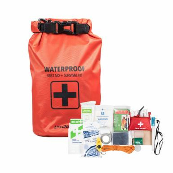 This Life Gear 130 Piece Dry Bag First Aid and Survival Kit is a must have for any emergency. Packed with 130 pieces of FDA Medical supplies and survival tools for emergency situations that can all be stored in a durable Waterproof First Aid Bag!