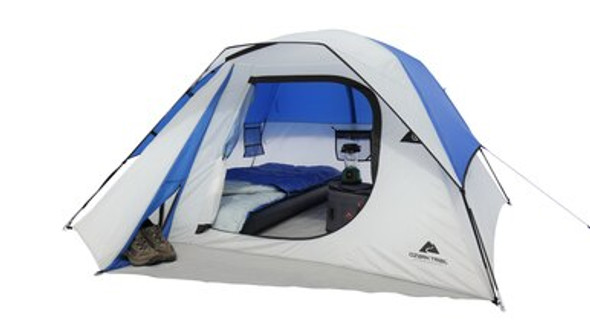 The Ozark Trail 4-Person Dome Tent is a suitable choice for first-time campers, backpackers, family outings, group events, picnics and music festivals. From your backyard to local camp grounds, as well as state and national parks, it's fast and easy to set up for just about any outdoor adventure. This 4-person camping tent offers added headroom for a more comfortable experience and can sleep up to four adults.